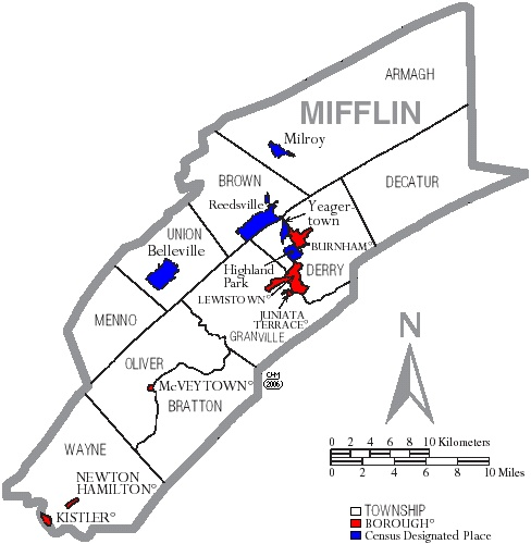 Burnham (PA) United States  city photos : Map of Mifflin County, Pennsylvania, United States with township and ...